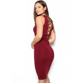 MERLOT LACE UP SWEATER DRESS