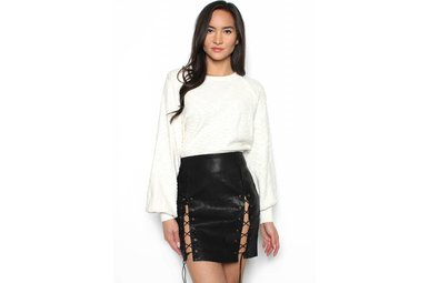 BUFFY LACE UP LEATHER SKIRT