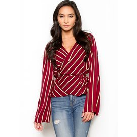 RIVER STRIPED WRAP TOP