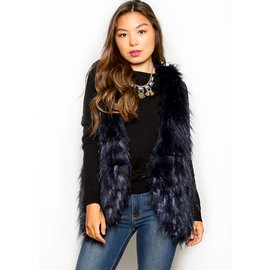 GLORIA NAVY FUR VEST