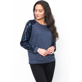SELENA SEQUIN SLEEVE SWEATSHIRT