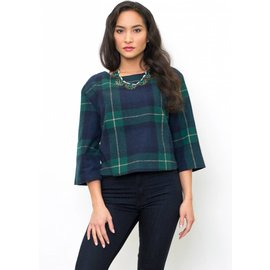 JACKIE CROPPED PLAID TOP
