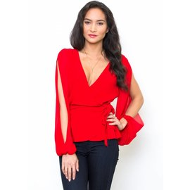 LUNA RED WRAP TOP