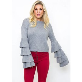 GATES TIERED SLEEVE SWEATER