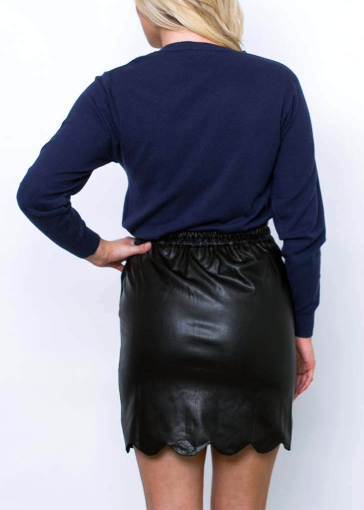 TONYA SCALLOPED LEATHER SKIRT