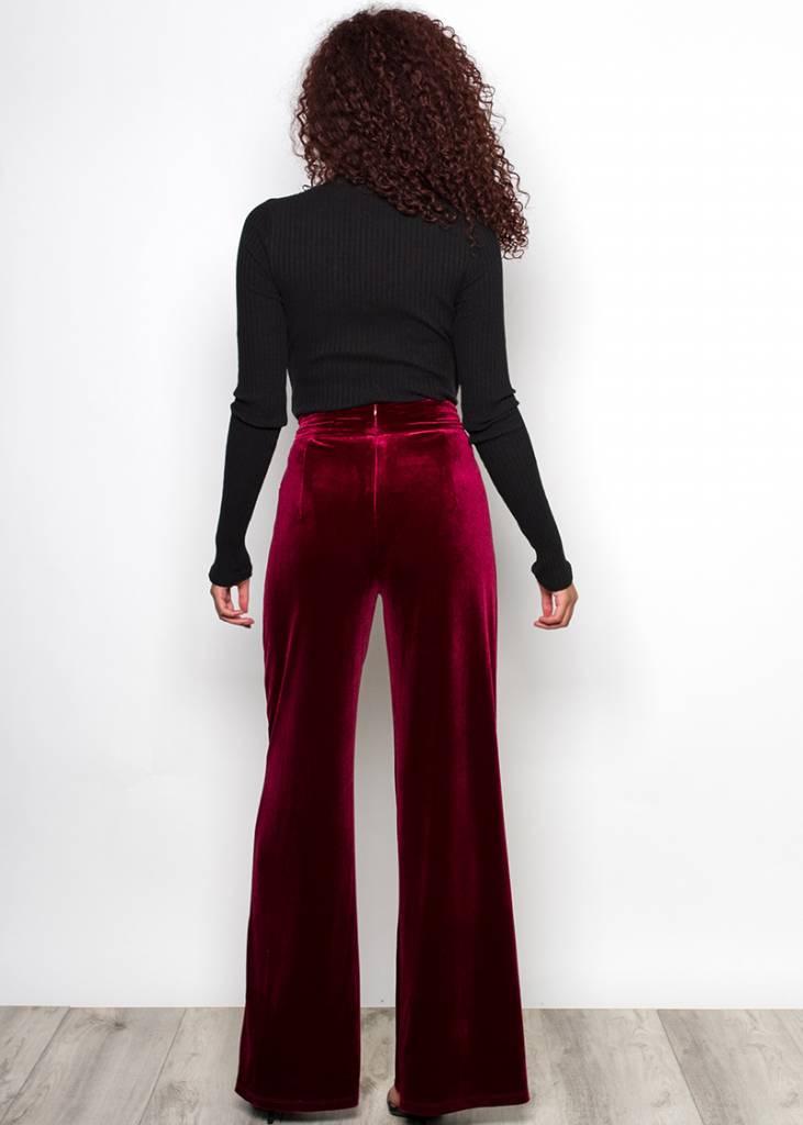 YOLANDA HIGH WAISTED VELOUR PANTS
