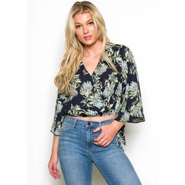 SAM PALM PRINT WRAP TOP