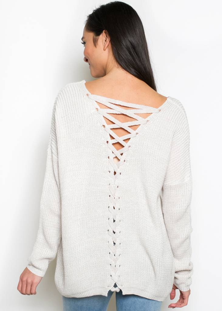LINDSAY LACE UP SWEATER