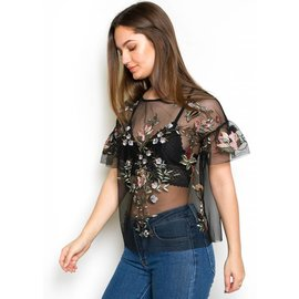 MARIPOSA SHEER FLORAL TOP