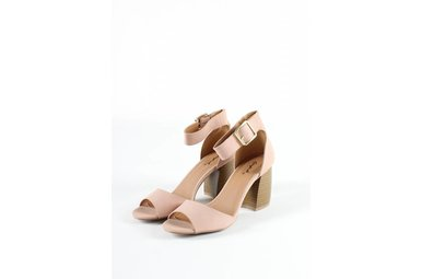 BELLE BLUSH STACKED HEELS