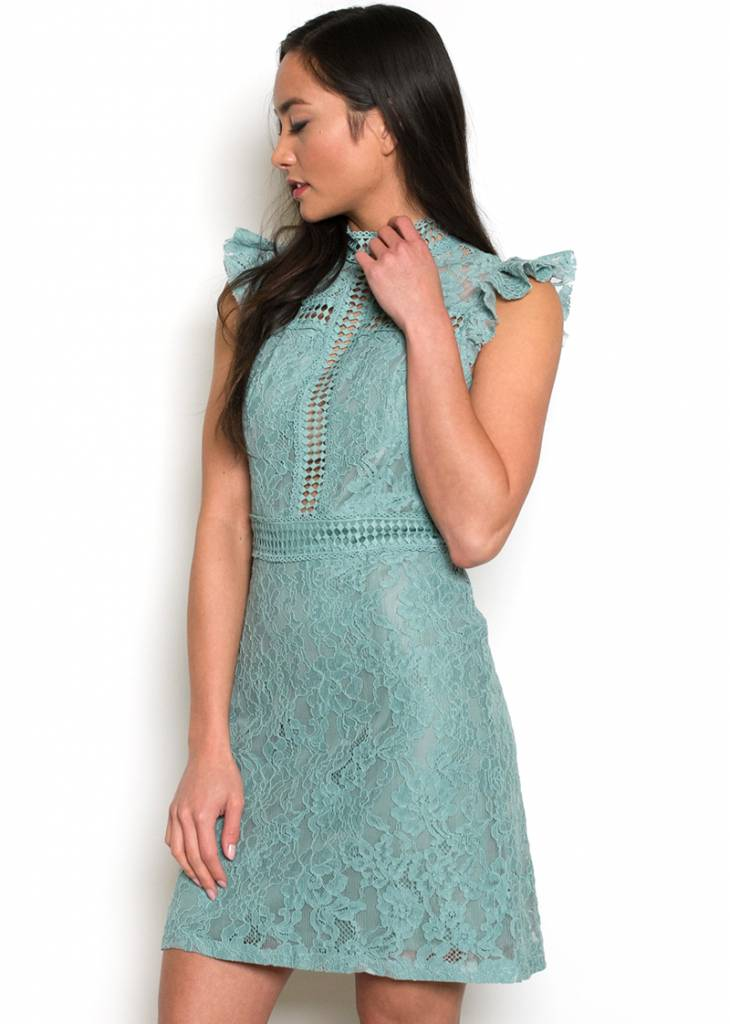 JENNA LACE MOCK NECK DRESS