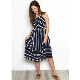 LUCIANA STRIPED MIDI DRESS