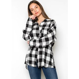 STELLA LACE UP PLAID TOP