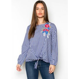 ELI EMBROIDERED GINGHAM TOP