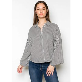 MIKAYLA STRIPED BUTTON UP
