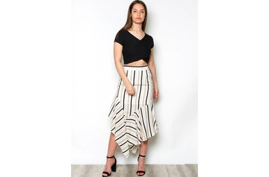 MAKENNA STRIPED MIDI SKIRT