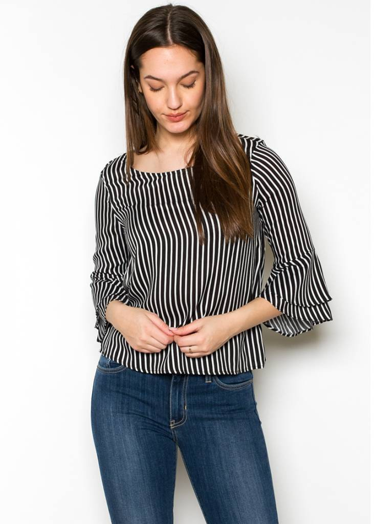 MELODY STRIPED BELL SLEEVE TOP