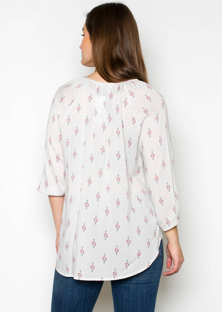 VANESSA PRINTED PEASANT TOP