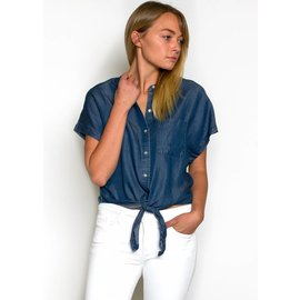 ALI TIE FRONT CHAMBRAY TOP