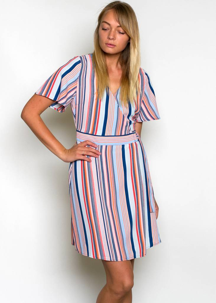 ARI STRIPED WRAP DRESS