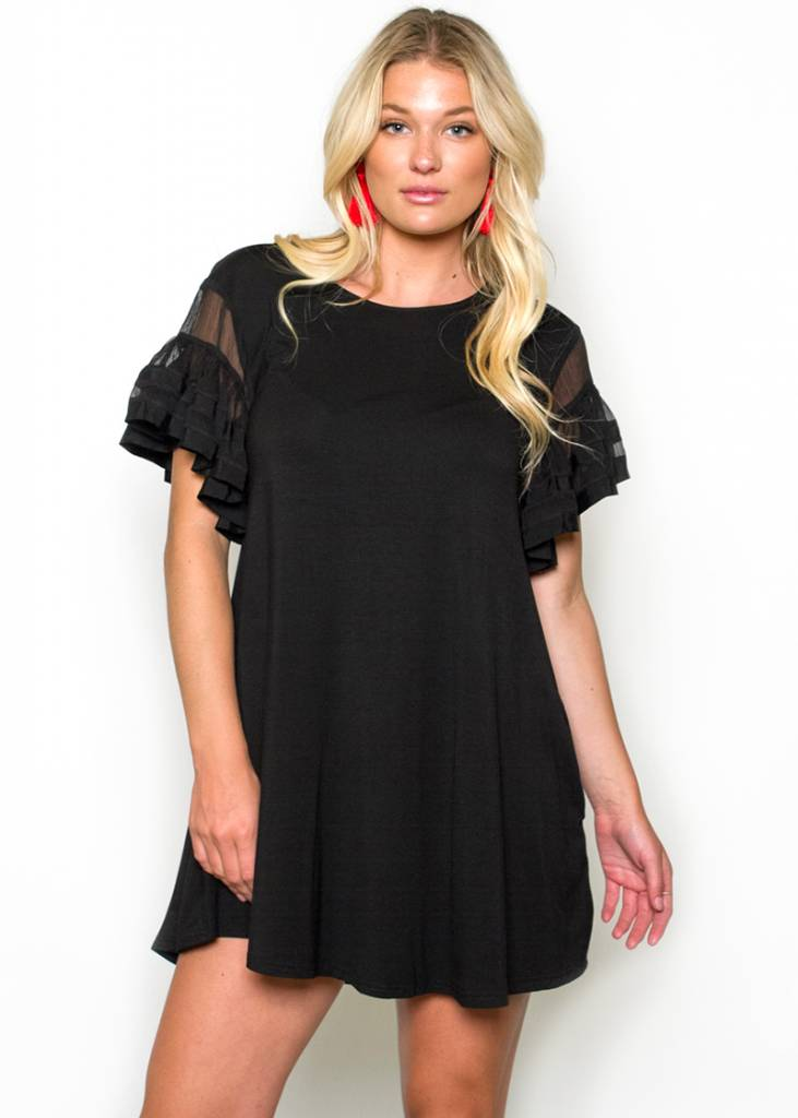 LAYNE RUFFLED T-SHIRT DRESS