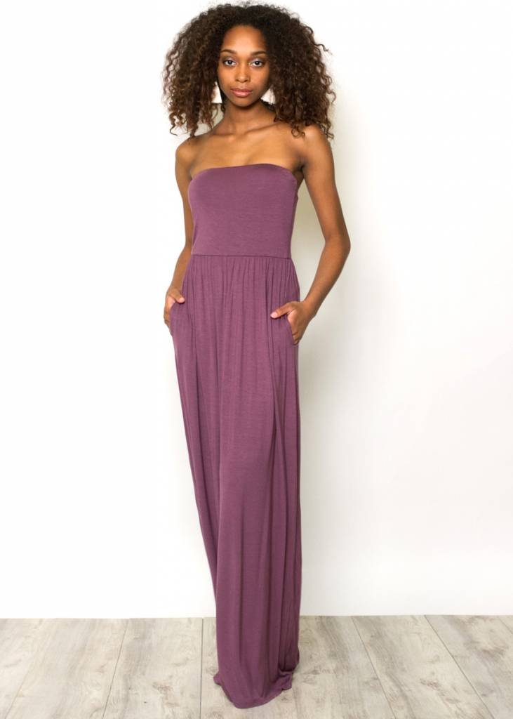 PANDORA PLUM STRAPLESS MAXI DRESS