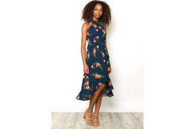 RAE FLORAL HALTER DRESS