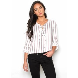 WILLOW STRIPED LACE UP TOP