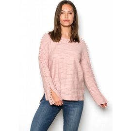 TARA BLUSH POM SWEATER