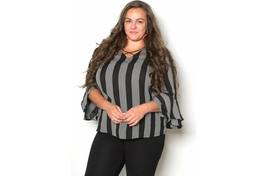 RAQUEL STRIPED CRISS CROSS TOP