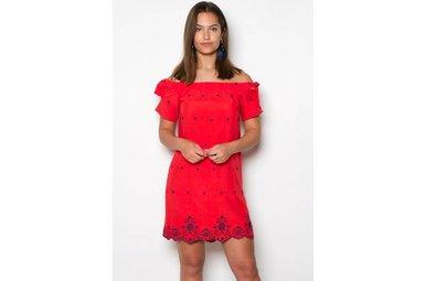 TAREN RED OFF THE SHOULDER DRESS