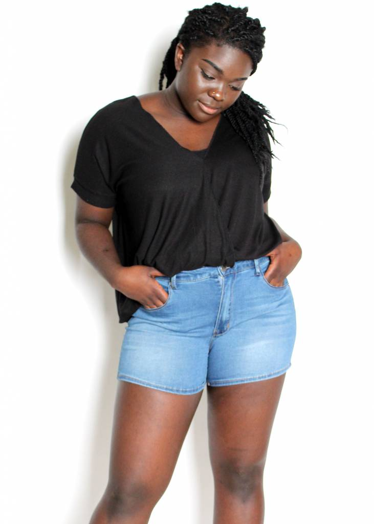 HUDSON MID RISE DENIM SHORTS