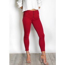 RAVEN RED BUTTON UP SKINNY JEANS