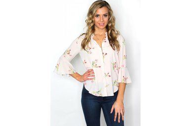 ZENA FLORAL BELL SLEEVE BLOUSE