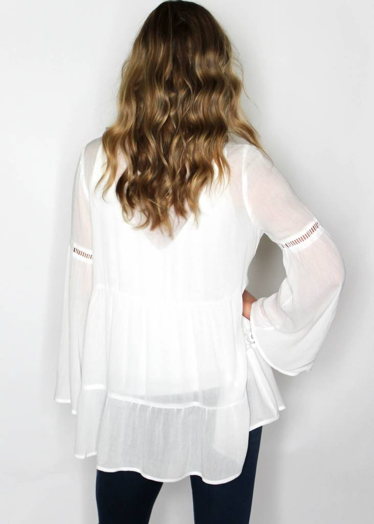 ALANA WHITE BELL SLEEVE TUNIC