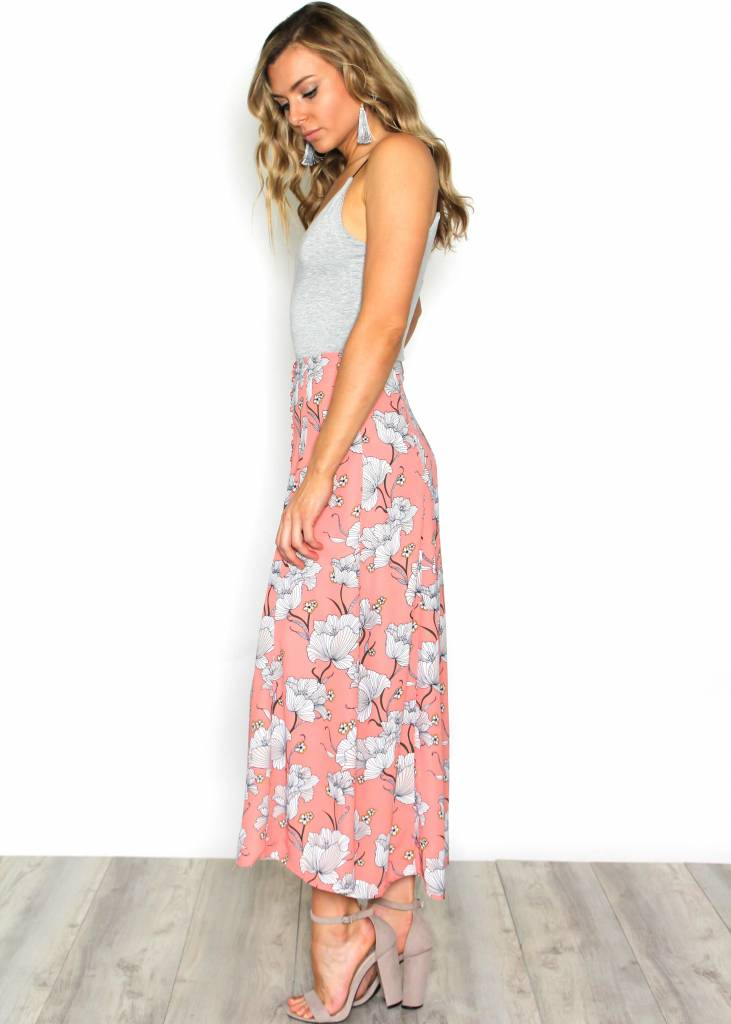 HADLEE PINK FLORAL MAXI SKIRT