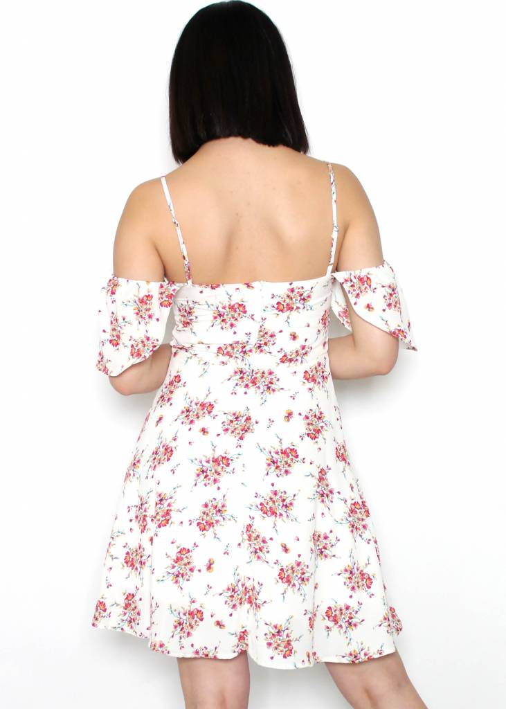 SANDY FLORAL OPEN SHOULDER DRESS