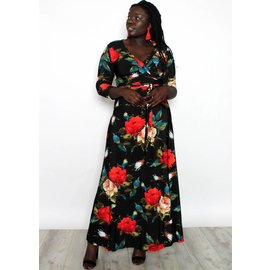 AURORA BLACK FLORAL MAXI DRESS