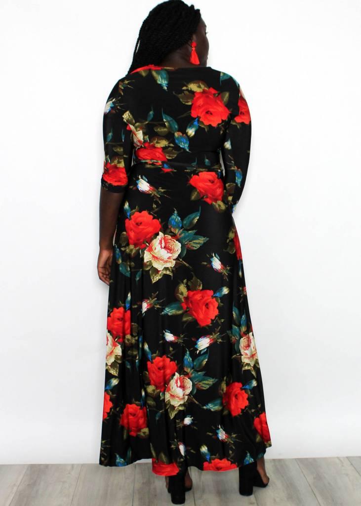 AURORA BLACK FLORAL MAXI DRESS