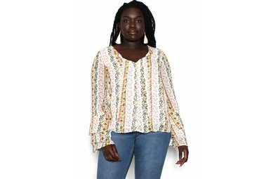 AMBER PRINTED BELL SLEEVE TOP