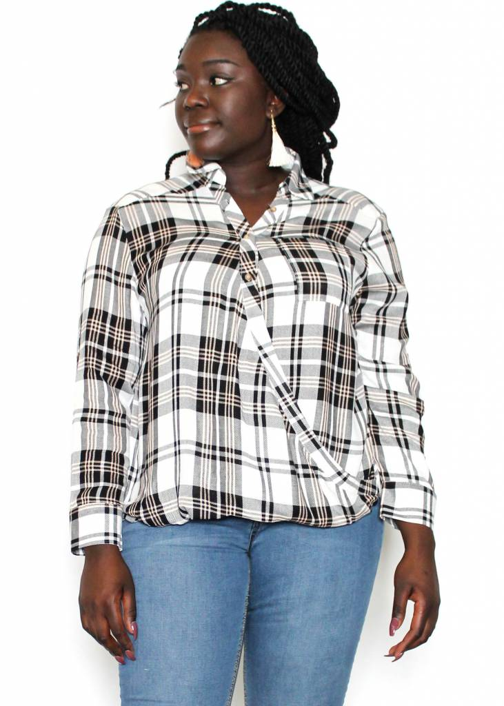 LIZ PLAID SURPLICE TOP