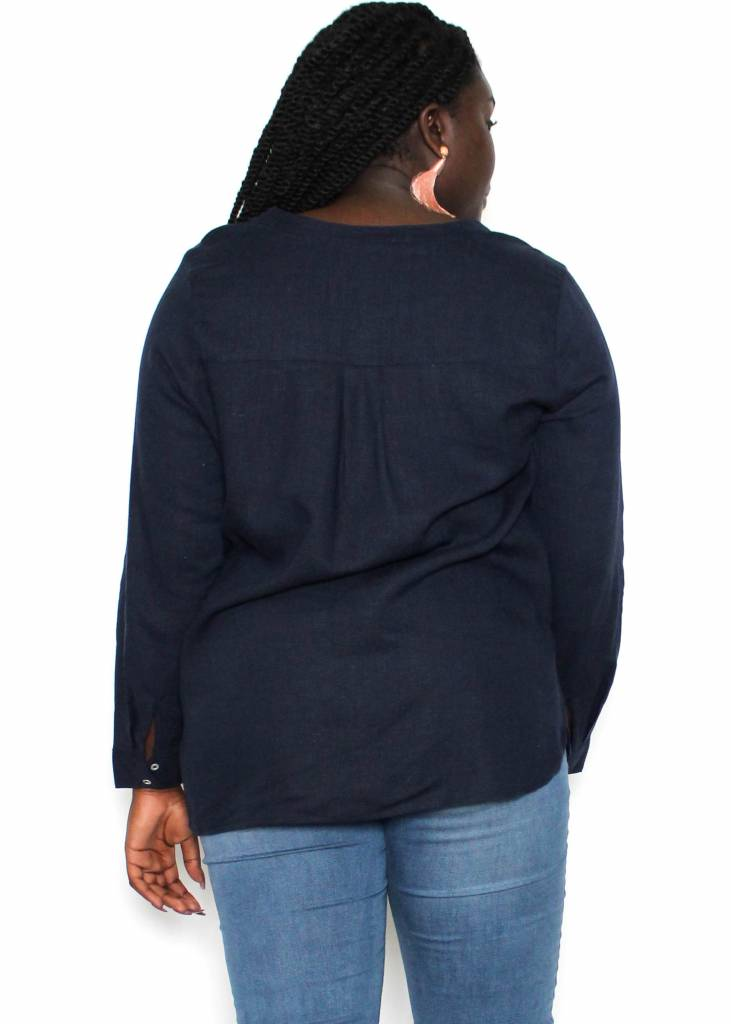 RAELYN NAVY BUTTON UP