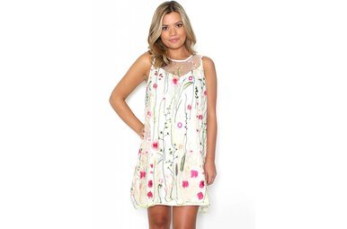 MAKENNA FLORAL EMBROIDERED DRESS