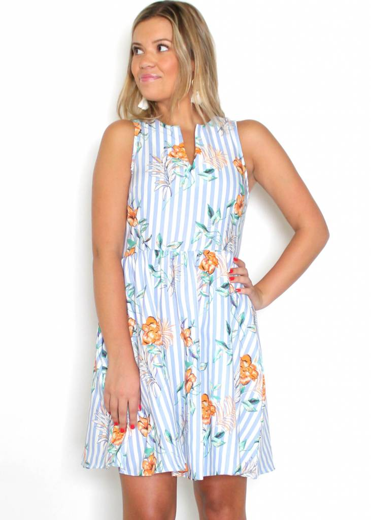CASSIE STRIPED FLORAL DRESS