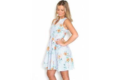 CASSIE STRIPED FLORAL DRESS