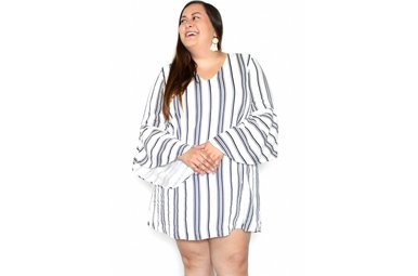 TESSA STRIPED BELL SLEEVE DRESS