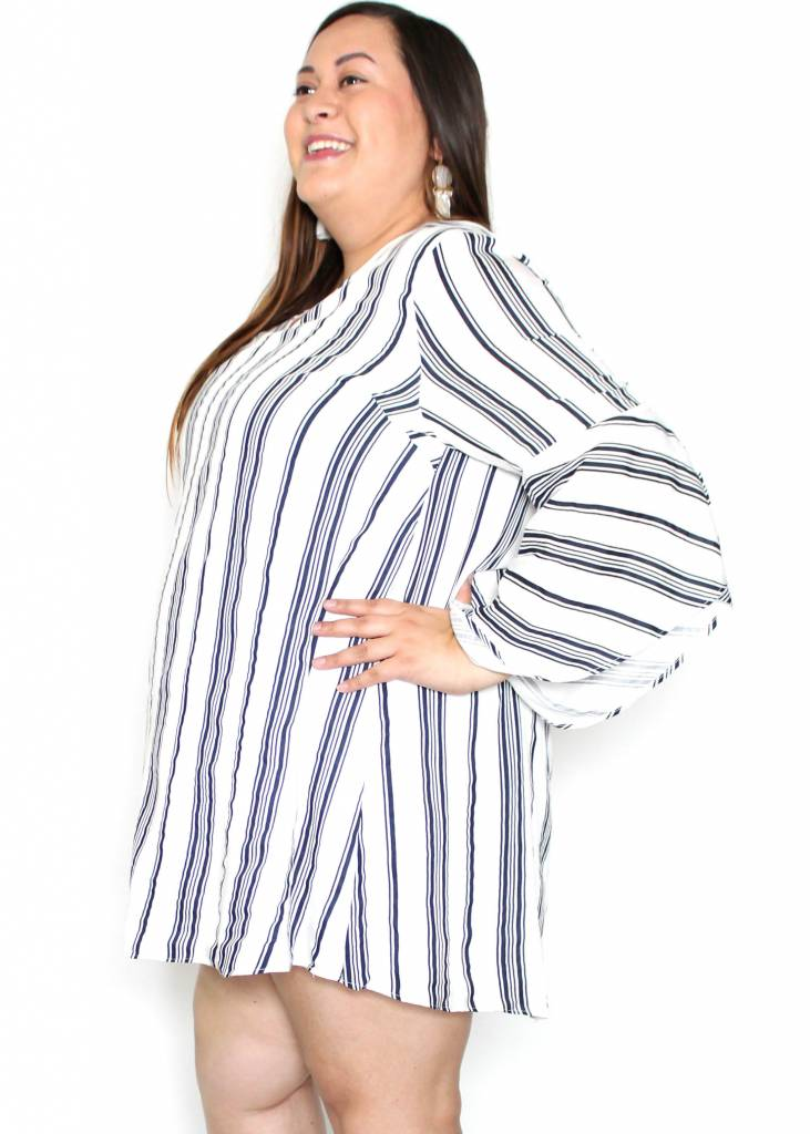 TESSA STRIPED BELL SLEEVE DRESS