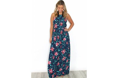 SOFIA FLORAL HATLER MAXI DRESS