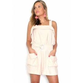 CHARLIE TAUPE BELTED ROMPER