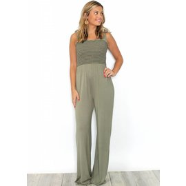 JOSEY OLIVE SMOCKED JUMPSUIT